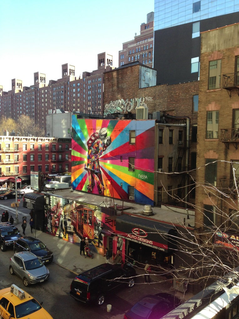A view from the Highline. Beautiful art covered buildings below.