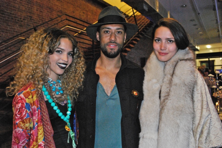 From L to R: Cleo Wade (A + O stylist), Brown Andrews,  Liza Voloshin (A + O biz development)