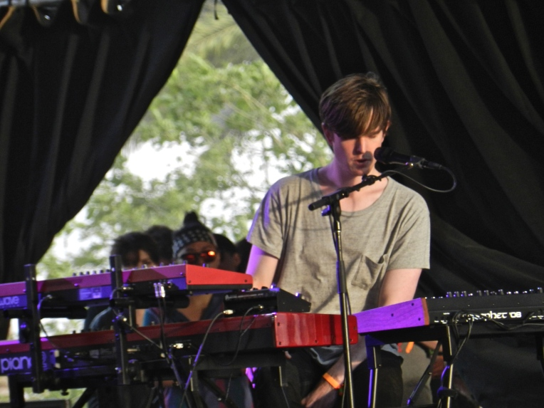 James Blake performing in the Mojave tent.