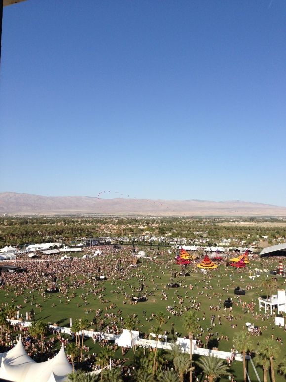 View from the ferris wheel of the Coachella grounds.