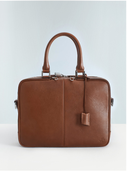 "WANT Essentials: Trudeau 14"" Computer Bag in Cognac"