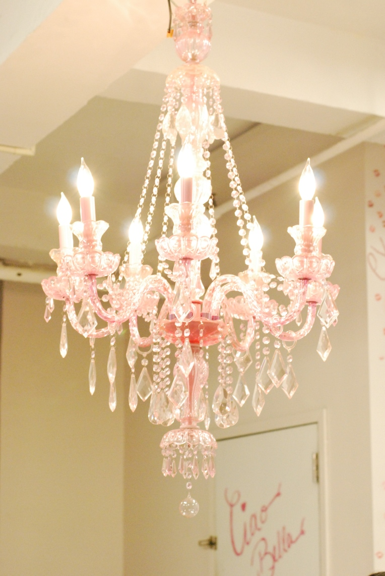 The gorgeous pink chandelier