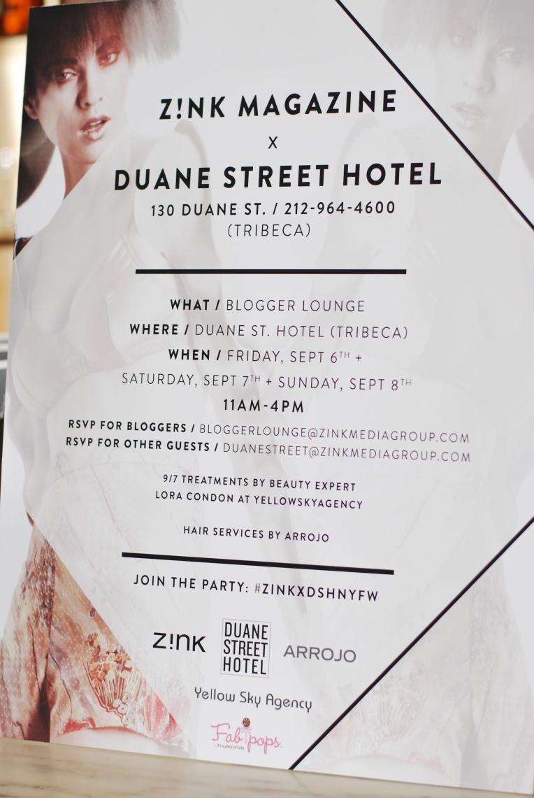 Poster for the event upon entry into the hotel