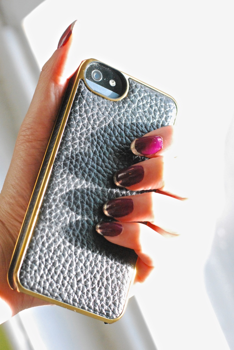French manicure & the Adopted Leather wrap iPhone 5 case.