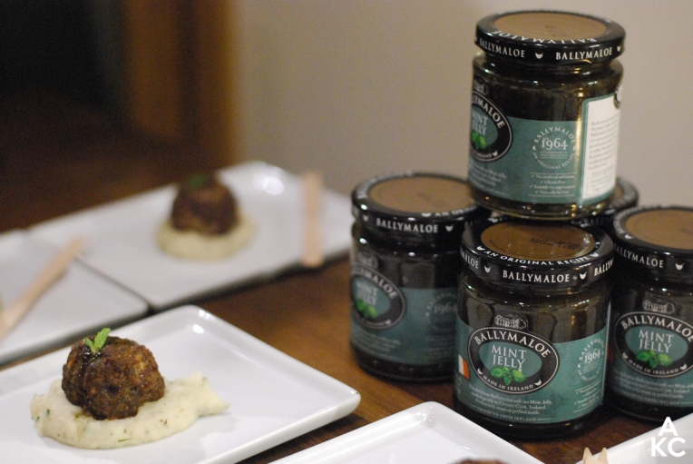 Lamb meatball with mashed potatoes, paired with Ballymaloe Mint Jelly