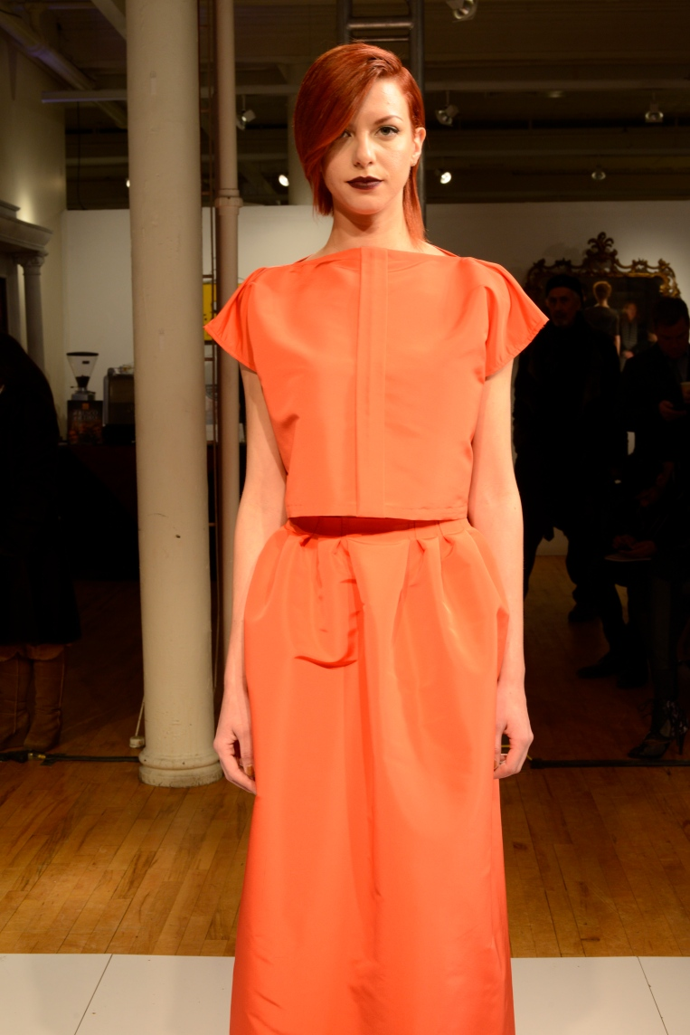 Persimmon stunner; cap-sleeve shell and gathered maxi skirt.