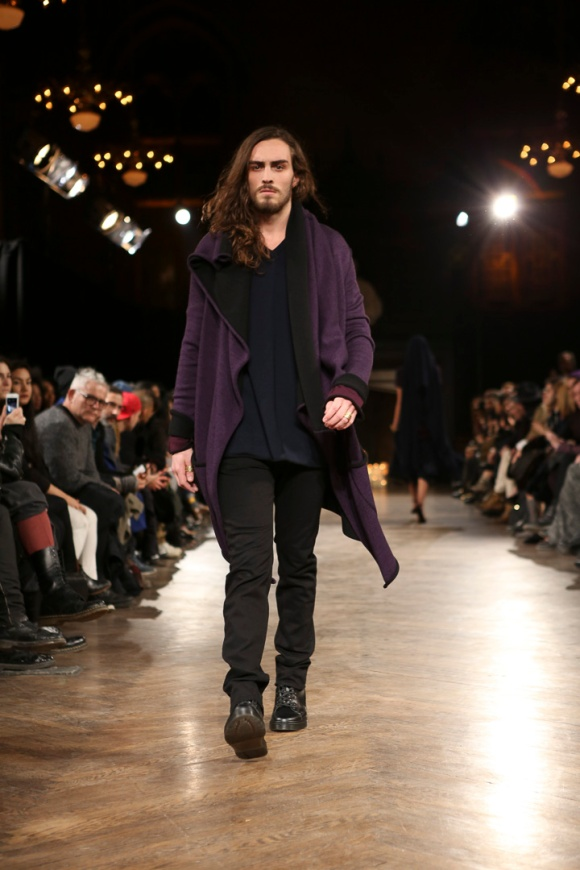 Aubergine/black duster over navy top with black denim. FAVORITE.