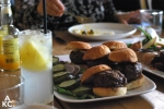 What lunch looked like: sliders, fresh lemonade, and veggies galore.
