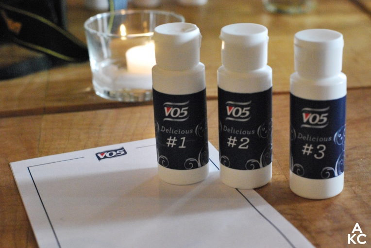 "The three ""delicious"" VO5 scents we chose from"