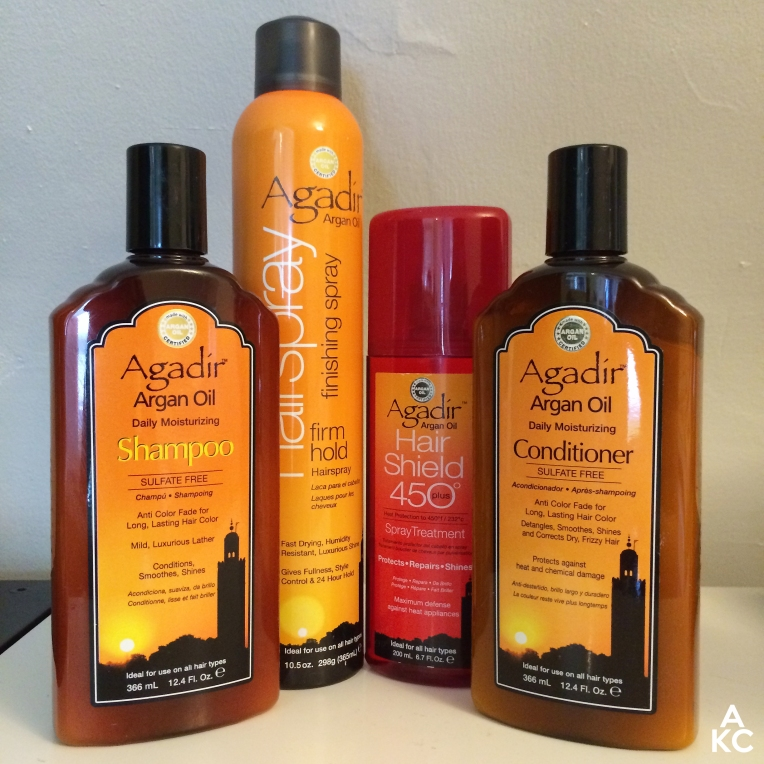 Agadir products from left to right: Daily Moisturizing shampoo, Firm Hold Hairspray, Hair Shield Spray Treatment, Daily Moisturizing Conditioner