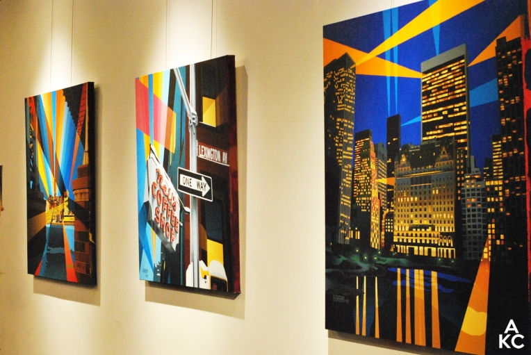 """A selection of paintings from Borbay's """"The Futurism"""" exhibition."""