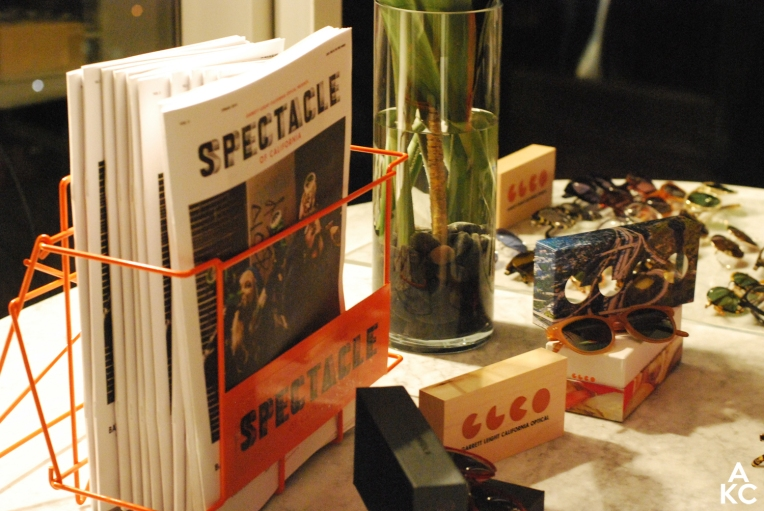 "The set-up. Display of the latest issue of ""Spectacle"" paired with eyewear."