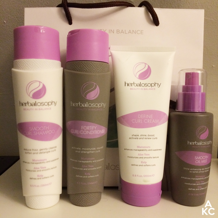 Herbalosophy Curls Collection. From L to R: Smooth Curl Shampoo, Fortify Curl Conditioner, Define Curl Creme, Smooth Oil Mist.