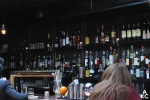 View of the fully-stocked bar at The Garret.