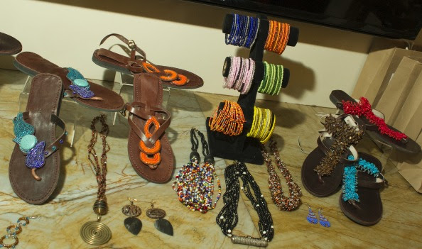 A selection of footwear and beaded accessories from Harkiss Designs.